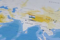 The Flag of india in the world map.  stock images