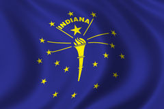Flag of Indiana. Waving in the wind Stock Images