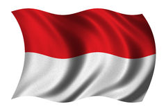 Flag of Indonesia. Waving in the wind - clipping path included Royalty Free Stock Images