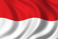 Flag of Indonesia. Waving in the wind Stock Image
