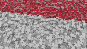 Flag of Indonesia being made with jigsaw puzzle pieces. Indonesian problem solution conceptual 3D rendering. Flag made of puzzle pieces, conceptual 3D vector illustration