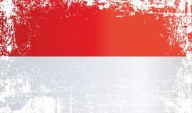 Flag of Indonesia. Wrinkled dirty spots. vector illustration