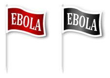 Flag with the inscription Ebola. Red and black flag with the inscription EBOLA - illustration Stock Photography