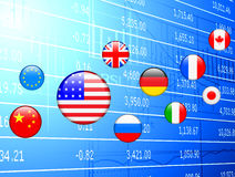 Flag Internet Buttons on Financial Background Stock Photo