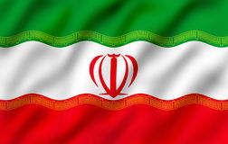 Flag of Iran. Illustration of waving Iranian national flag Stock Illustration