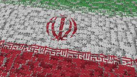Flag of Iran being made with jigsaw puzzle pieces. Iranian problem solution conceptual 3D rendering. Flag made of puzzle pieces, conceptual 3D royalty free illustration
