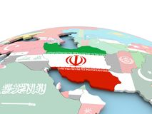 Flag of Iran on bright globe. Iran on political globe with embedded flags. 3D illustration Royalty Free Stock Images