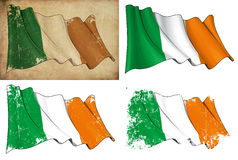 Flag of Ireland. Waving Irish flag. 4 options for multiple uses 1) aged paper, 2) clean cut, 3) scratched surface and 4) under texture Stock Photography