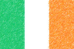 Flag of Ireland background o texture, color pencil effect. Stock Image
