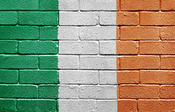Flag of Ireland on brick wall Royalty Free Stock Images