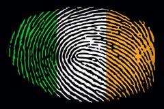 Flag of Ireland in the form of a fingerprint on a black background vector illustration