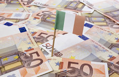 Flag of Ireland sticking in 50 Euro banknotes.(series) Royalty Free Stock Image