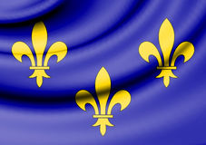 Flag of Isle de France, France. Royalty Free Stock Images