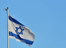 Flag of Israel against blue sky Royalty Free Stock Photography