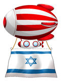 The flag of Israel attached to the floating stripe-colored ballo Stock Photos