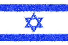 Flag of Israel background o texture, color pencil effect. Stock Image