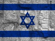Flag of Israel on background stone texture. Closeup Royalty Free Stock Image