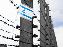 Flag of Israel on the barbwire stock photos