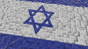 Flag of Israel being made with jigsaw puzzle pieces. Israeli problem solution conceptual 3D rendering. Flag made of puzzle pieces, conceptual 3D royalty free illustration