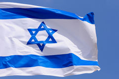 Flag of Israel. Big flag of Israel over blue sky Stock Images