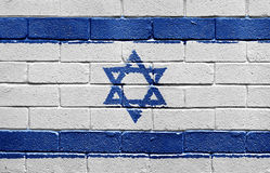 Flag of Israel on brick wall. Flag of Israel painted onto a grunge brick wall Stock Photography
