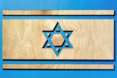 Flag of Israel, david star carved into a tree stock images