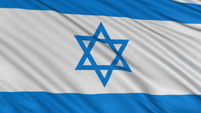 Flag of Israel develops slowly in the wind stock footage