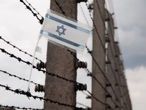 Flag of Israel in the fence of concentration camp Royalty Free Stock Photo