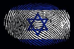 Flag of Israel in the form of a fingerprint on a black background stock illustration