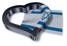 Flag of israel and heart symbol vector illustration