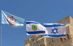 Flag of Israel, the IDF and the city of Jerusalem The old streets and houses of the ancient city of Jerusalem Royalty Free Stock Images