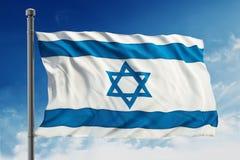 Flag of Israel. Isolated on blue sky background stock image