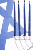 Flag of Israel and Menorah. Hanukkah Stock Images