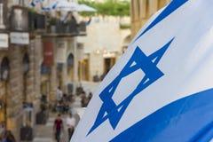 Flag of Israel near the old city stock photos