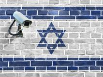 Flag of Israel painted on a brick wall. stock photo