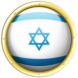 Flag of Israel on round badge Stock Images