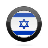 Flag of Israel. Shiny black round button. Royalty Free Stock Photography