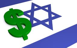 Flag of Israel and US dollar royalty free stock photo