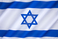 Flag of Israel. The flag of Israel was adopted on October 28, 1948, five months after the establishment of the State of Israel. The symbol in the centre Royalty Free Stock Photo