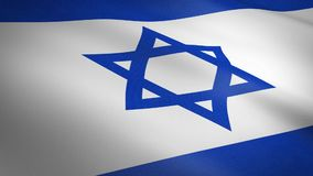 Flag of Israel waving flag with highly detailed fabric texture seamless loopable video. Seamless loop with highly stock video footage