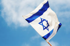 Flag of Israel. Israel flag waving in the wind Stock Photography