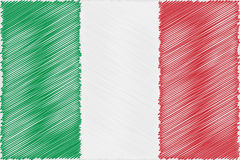 Flag Italian pencil drawing vector illustration. Using for decoration works Stock Photos