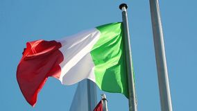Flag of the Italian Republic waving