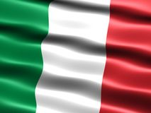 Flag of Italy. With silky appearance and waves Royalty Free Stock Photo