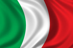 Flag of Italy. Waving in the wind Stock Photos