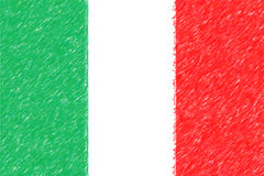 Flag of Italy background o texture, color pencil effect. Stock Photography