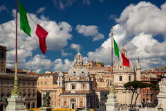 The flag of Italy blowing in the wind Stock Image