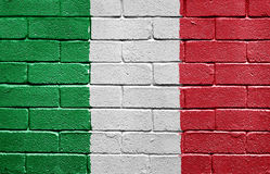 Flag of Italy on brick wall Royalty Free Stock Image