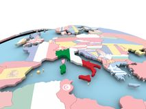 Flag of Italy on bright globe. Italy on political globe with embedded flags. 3D illustration Stock Photos