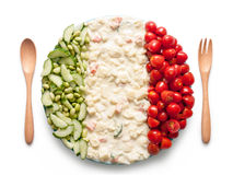 Flag of Italy made of  tomato, peas and salad Stock Image